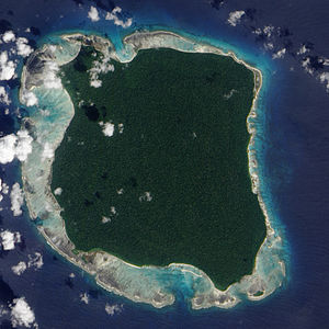 North Sentinel Island - 2009 NASA image of North Sentinel Island; the island's protective fringe of coral reefs can be seen clearly.