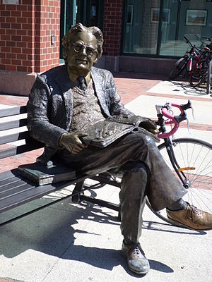 Northrop Frye - Northrop Frye statue outside the entrance of Moncton Public Library at Blue Cross Centre