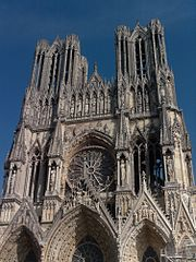 Reims cathedral, traditional site of French coronations. The structure had additional spires prior to a 1481 fire.