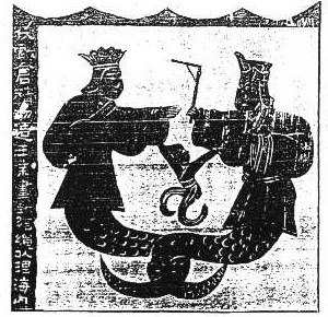 Chinese creation myths - A Han-era mural depicting Nüwa with a compass and Fuxi with a square