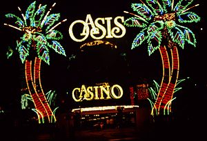 Dunes (hotel and casino) - Neon facade of the Oasis Casino in 1990