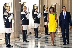 English: US President Barack Obama and US Firs...