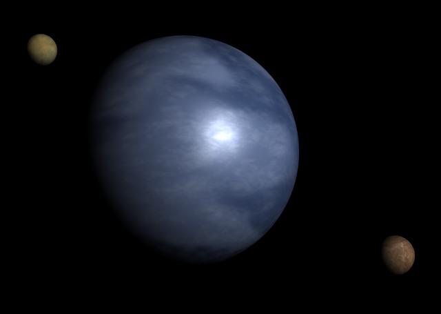 Гипотетически существующий тип экзопланет — планета-океан с двумя спутниками в представлении художника