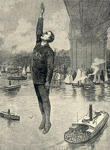 Eine Skizze, die Robert E. Odlum zeigt, der von der Brücke springt