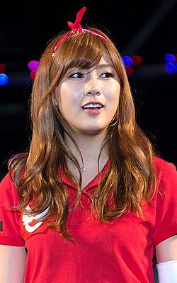 Oh Hayoung at Korea University Ipselenti cheering festival, 30 May 2014 crop.jpg
