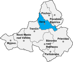 Localisation du district de Ilava  dans la région de Trenčín (carte interactive)