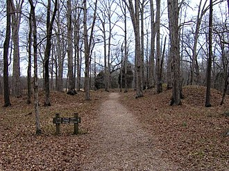 "Old Stone Fort (Tennessee) - The Old Stone Fort's entrance, with the ""pedestal"" mounds on the right and left"