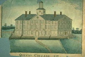 Rutgers University - Early 19th-century drawing of Old Queen's (1809), the oldest building on the Rutgers University campus in New Brunswick, New Jersey.