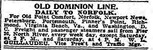 Old Point Comfort - Old Dominion Steamship Company New York to Chesapeake Bay Ports advertisement,  19 March 1898.