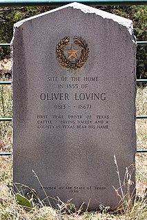 Oliver Loving cattle rancher and pioneer of the cattle drive
