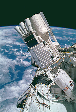 STS-35 - The ASTRO-E payload deployed in Columbia's payload bay