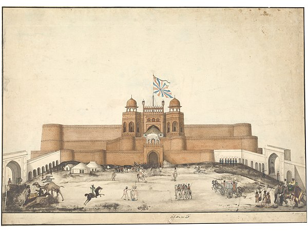 The Red fort, Agra, c. 1820 One of the drawings of Mughal monuments at Agra and Fatehpur Sikri.jpg
