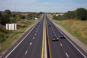 Ontario Highway 115 - Highway 115/35, looking north from Durham Region Highway2 bridge