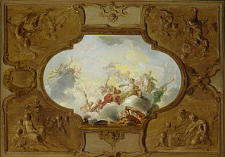 Design for a ceiling piece with Aeneas and the four seasons in the corners