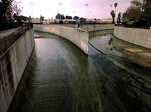 Los Angeles River - The Arroyo Calabasas (left) and Bell Creek (right) join to form the Los Angeles River