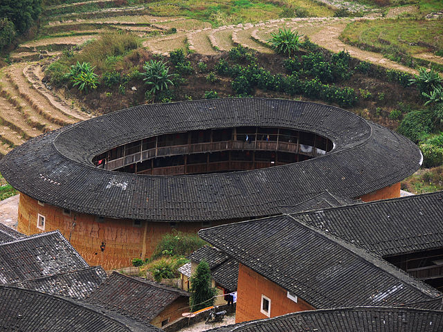 Oval shape tulou building