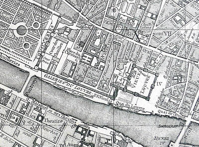 Fichier:P1010316 Carte de Paris Vaugondy-1760 centre ouest Palais du Louvre reductwk.JPG