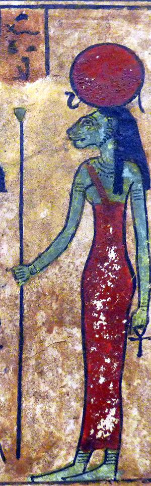 Ennead - Image: P1200378 Louvre stele Ousirour detail Tefnout N2699 rwk