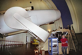 "Astrophotography - The large 48"" Oschin Schmidt Camera at Palomar Observatory"