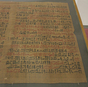 English: Papyrus Ebers, column 38 Deutsch: Pap...