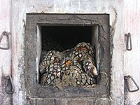 """A distillery oven loaded with agave """"piñas"""" or """"pineapples"""", the first step in the production of tequila."""