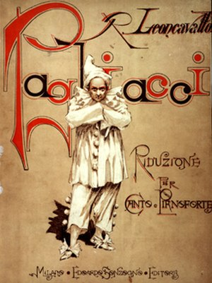 Pagliacci - Cover of the first piano reduction of the score published in 1892
