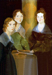 Three young brown-haired women stare forward