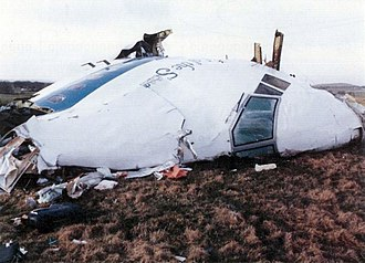 Pan Am Flight 103 - The remains of the forward section from Clipper Maid of the Seas on Tundergarth Hill, Lockerbie