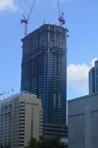 Panorama Tower - Panorama Tower under construction in October 2016 at about 60 floors. The building will be significantly larger than other skyscrapers in Florida. The design variation at about 50 floors is the 48th floor amenity deck.