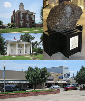 Paragould, Arkansas - Clockwise from center: Paragould meteorite, Paragould Downtown Commercial Historic District, Greene County Museum, Historic Greene County Courthouse