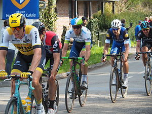 Sep Vanmarcke, Edvald Boasson Hagen, Mathew Hayman, Tom Boonen and Ian Stannard, cycling in a line at the end of the race