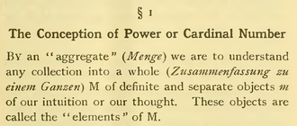 Set (mathematics) - Passage with a translation of the original set definition of Georg Cantor. The German word Menge for set is translated with aggregate here.