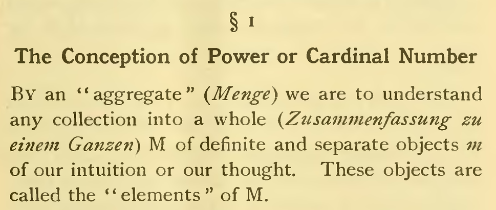 Passage with the set definition of Georg Cantor