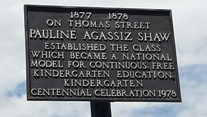 Pauline Agassiz Shaw - Plaque at Centre and Thomas Street, Jamaica Plain memorializing the site of one of Shaw's first kindergartens.