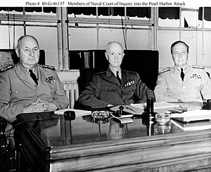 Orin G. Murfin - Admiral Orin G. Murfin (center) as President of the Navy Court of Inquiry for the Pearl Harbor attack
