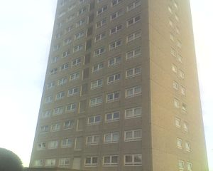 Craigmillar - Peffermill Court, one of two 14-storey tower blocks in Craigmillar Castle Gardens