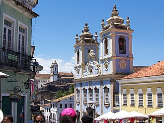 Colonial Brazil - Historical centre of Salvador today – the architecture of the city's historic centre is typically Portuguese.