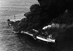 German submarine U-571 - The tanker SS Pennsylvania Sun, torpedoed by U-571 on 15 July 1942 (was saved and returned to service in 1943)