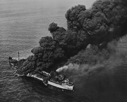 The tanker SS Pennsylvania Sun, torpedoed by U-571 on 15 July 1942 (was saved and returned to service in 1943) Pennsylvania Sun.jpg
