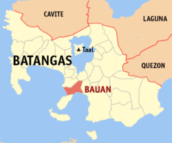 Map of Batangas showing the location of Bauan.