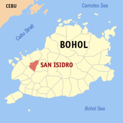 Map of Bohol with San Isidro highlighted