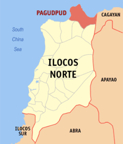 Map of Ilocos Norte with Pagudpud highlighted