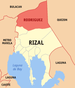 Map of Rizal showing the location of Rodriguez