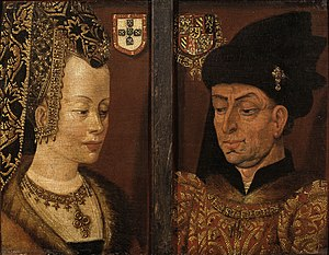 Portrait of Isabella of Portugal (van Eyck) - Later diptych showing Isabella of Portugal and Philip the Good in middle age.