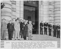 Photograph of President Truman and his party reviewing the noon meal formation of the Midshipmen from the steps of... - NARA - 198669.tif