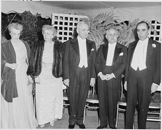 Brazil–United States relations - President Harry S. Truman (center) and First Lady Bess Truman with President Eurico Gaspar Dutra (second right) and other dignitaries, during Dutra's visit to the United States, 18 May 1949.