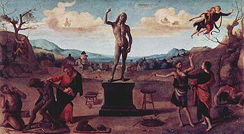 Prometeo plasma l'uomo, dipinto di Piero di Cosimo, Monaco, Alte Pinakothek.