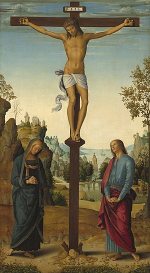 John the Apostle - St. John at the Crucifixion of Jesus in a Stabat Mater by Pietro PeruginoRome, c. 1482