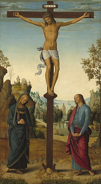 Stabat Mater - Pietro Perugino's depiction of Mary at the Cross, 1482. (National Gallery, Washington)