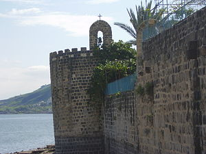 "Tiberias - ""Leaning tower"" at SE corner of Zahir al-Umar's walls, part of Greek Orthodox Monastery of the Twelve Apostles"